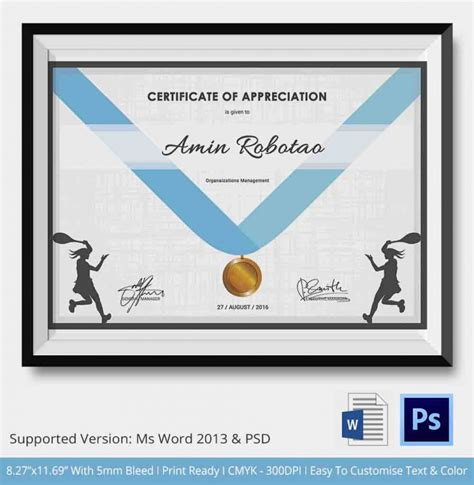 5 tennis certificates psd word designs design trends