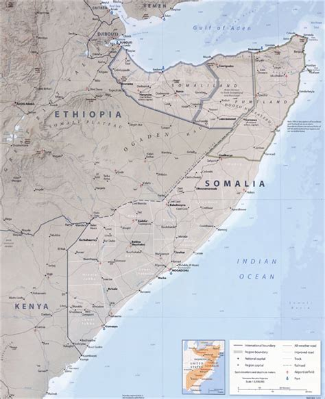 africa map somalia large detailed political map of somalia with all roads
