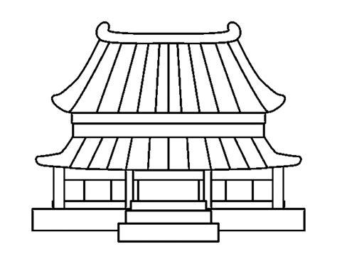 mewarnai gambar rumah tradisional cina contoh anak paud