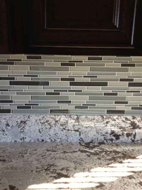 Glass Tile Backsplash I Had Installed By Lowes Love It Tile Backsplash Lowes