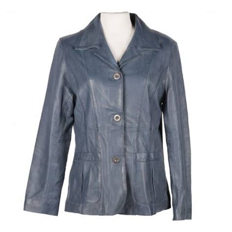design leren jas leren jas dames blazer blauw makh