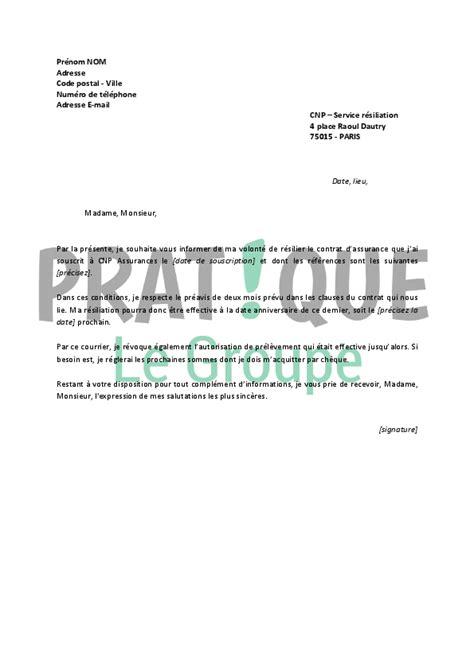 Lettre De Resiliation Wizeo Lettre De R 233 Siliation Cnp Assurances Pratique Fr