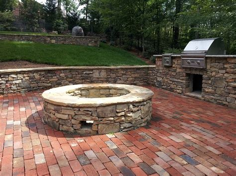 brick outdoor pit retaining wall brick patio outdoor grill