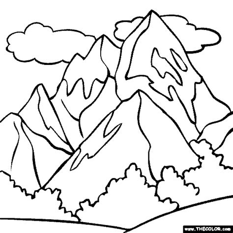 mountain coloring page color a snowy mountain