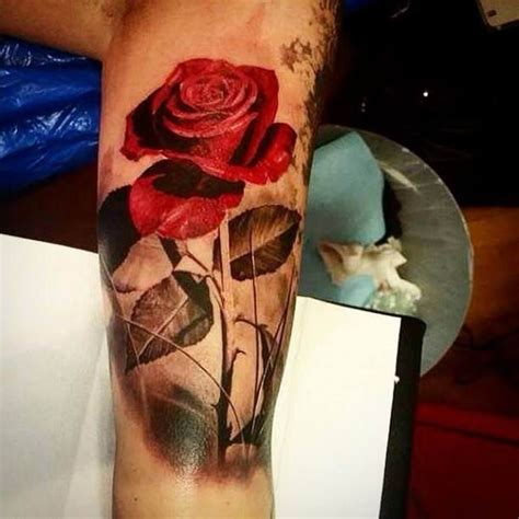 rose tattoo with stem with stem tattooed tattoos