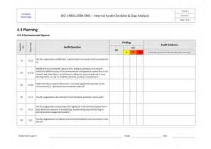 iso 14001 ems internal audit checklist example ok