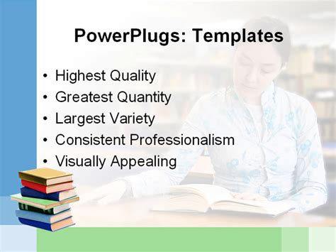 library powerpoint template beautiful reading a book in the library powerpoint