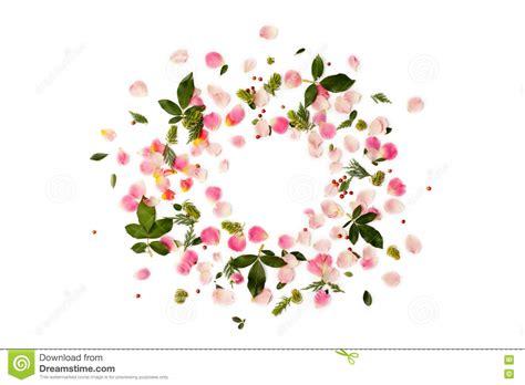 Mit Freundlichen Gr En Auf Niederl Ndisch Runder Mit Blumenrahmen Mit Den Rosafarbenen Blumenbl 228 Ttern Und Gr 252 N Verl 228 Sst Auf Wei 223 Stockbild
