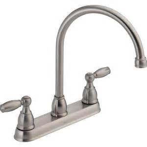 home depot kitchen faucets delta delta foundations 2 handle standard kitchen faucet in stainless 21987lf ss the home depot