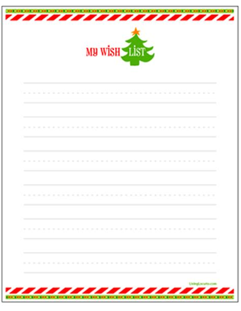 printable santa list paper holiday wish list for kids letter to santa free