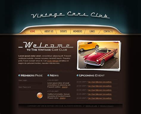 motor website car club website template web design templates website