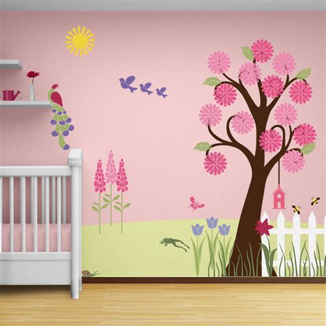 Tree Wall Mural pleasing 80 green pink bedroom decorating ideas design