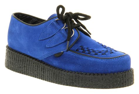 blue suede shoes womens underground wulfrun creeper blue suede platform