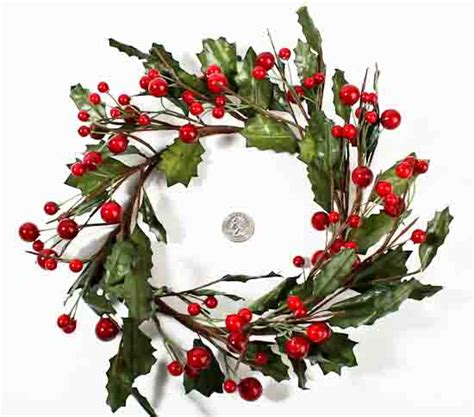 artificial red holly berry holiday candle ring wreath