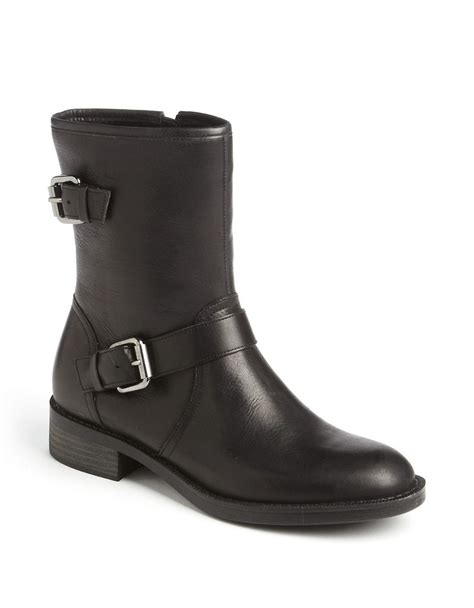 enzo angiolini semia leather moto boots in black lyst
