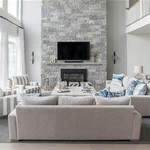 Grey Living Room With White Fireplace Two Story Living Room Design Ideas