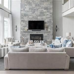 Blue Grey Room Ideas two story living room design ideas
