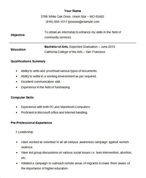 resume templates for internship student resume template 21 free sles exles