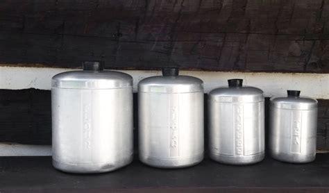 vintage mid century aluminium nesting canister set w lids vintage aluminum kitchen canister set of 4 retro mid century