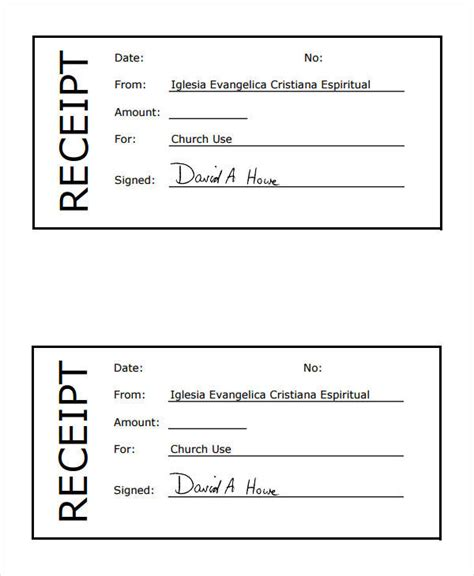 church receipt template 36 printable receipt forms sle templates