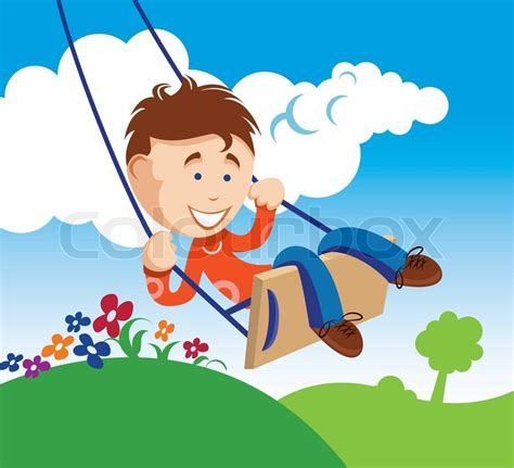 play boy swing videos an illustration of a young boy on a swing stock vector