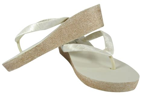 Ivory Wedding Shoes Wedge Heel by Chagne Ivory Glitter Wedge Heel Flip Flop Sandals