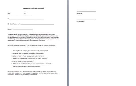 Trade Credit Reference Letter Template Request For Trade Credit Reference Business Forms