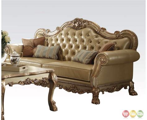 Gold Leather Sofa Dresden Traditional Bone Faux Leather Sofa Loveseat In Gold Patina