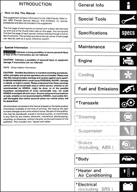 how to download repair manuals 1994 honda prelude lane departure warning 1996 honda prelude repair shop manual supplement original