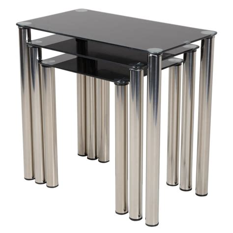 Three Tables by Modern Black Glass Nest Of Tables Nesting Set Of Three