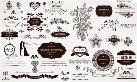 wedding design elements vector 4 designer retro style wedding floral design vector material