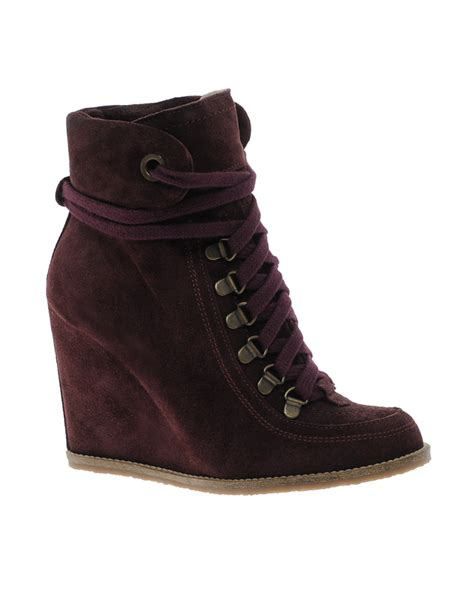 ganni wedge ankle lace up boot with razer edge sole in