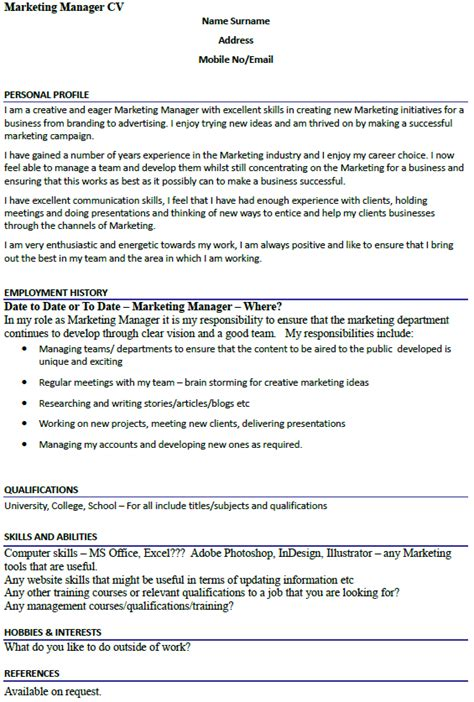 marketing manager cv exle icover org uk