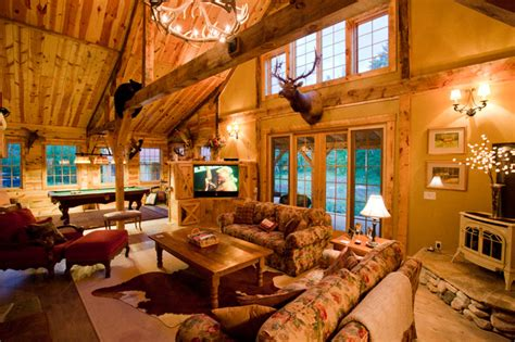 Cabin Themed Living Room montana lodge themed barn home traditional living room