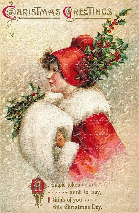 printable christmas cards vintage items similar to vintage christmas postcard printable