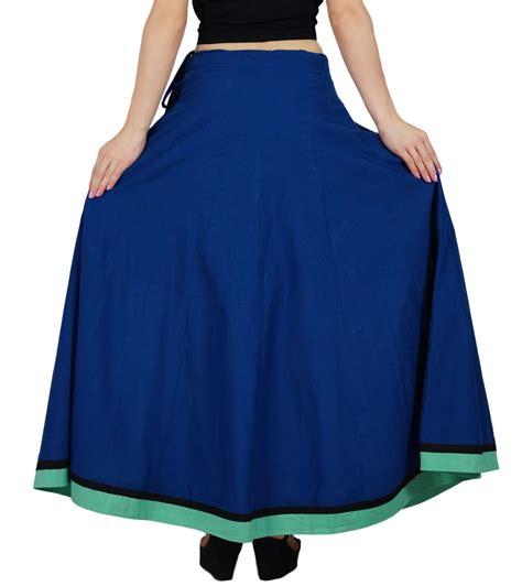 Cotton A Line Maxi Skirt bimba blue maxi cotton skirt a line flaired