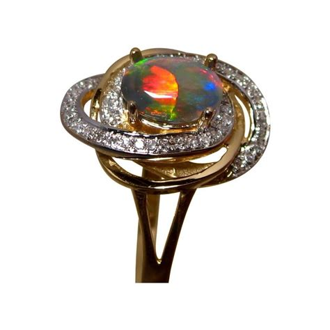 harlequin opal ring with diamonds in 14k gold flashopal