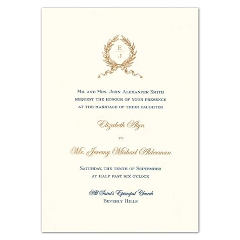 Embassy Letter Sle Invitation Wreath Monogram Engraved White Embassy Wedding Invitations Paperstyle