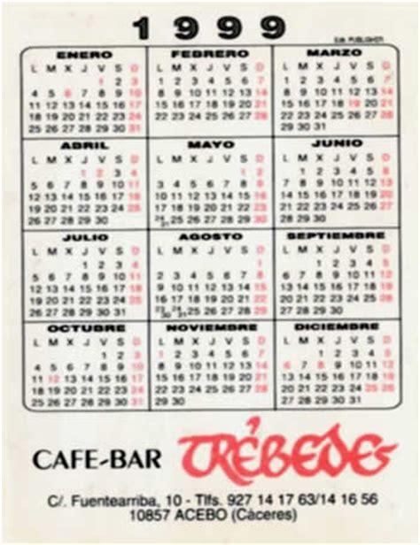 Calendario De 1999 Caf 233 Bar Tr 233 Bedes Calendario 1999