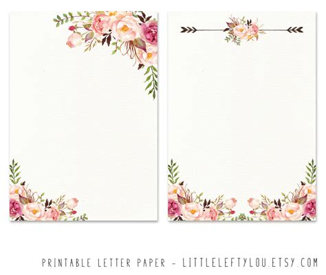 printable letter paper floral stationery writing