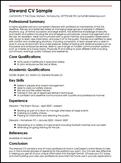 Resume Samples Job Description by Steward Cv Sample Myperfectcv