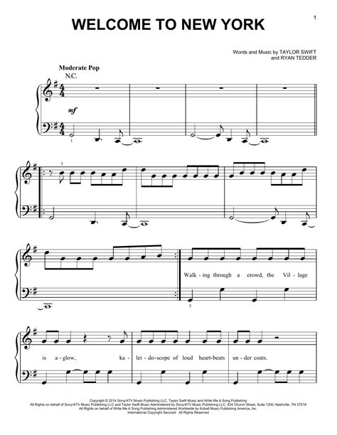tutorial piano new york welcome to new york sheet music by taylor swift easy