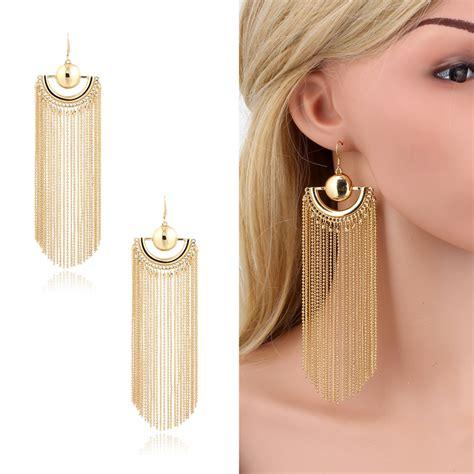 Huge Chandelier Earrings Gold Plated Long Chain Bead Tassel Chandelier Drop Dangle