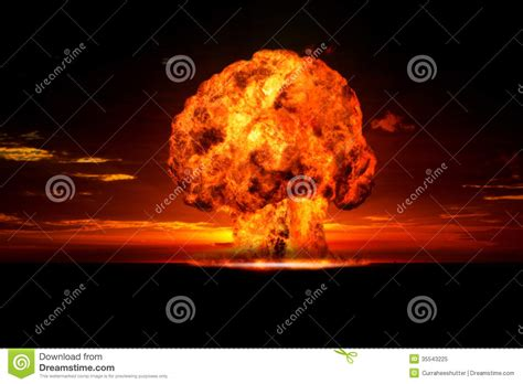 Armaggeddon Nuke 7 Yellow nuclear explosion in an outdoor setting royalty free stock