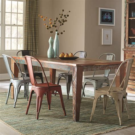 keller dining room furniture coaster keller rustic 7 table set with a distressed finish dunk bright furniture