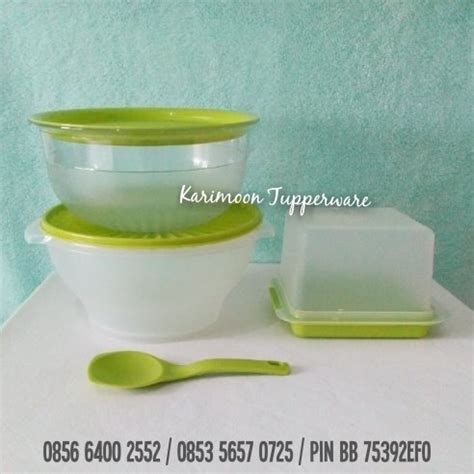 Modular Bowl Hijau Tupperware serving set karimoon tupperware