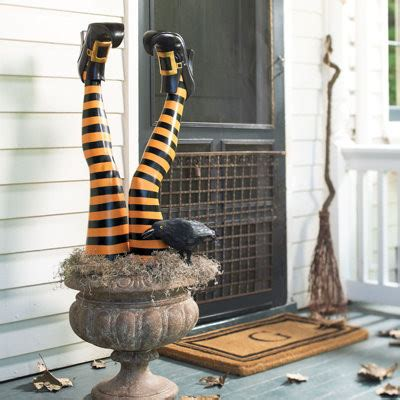 set of two halloween halloween witch leg stakes grandin road traditional holiday