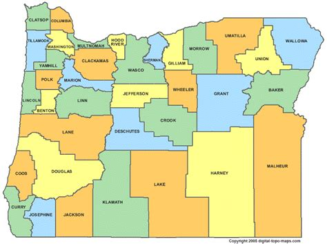 maps of counties oregon counties map