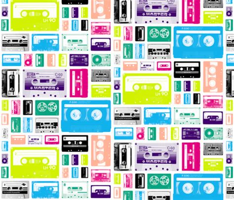 rare 80 s mix mix tapes 80s fabric pennycandy spoonflower