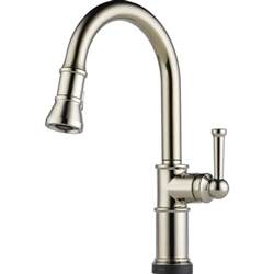 kitchen faucet brizo 64025lf pn artesso brilliance polished nickel pullout spray kitchen faucets efaucets com